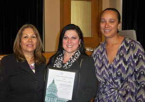Awardee Martha Yanez with City Administrator and Head of Contract Monitoring Division